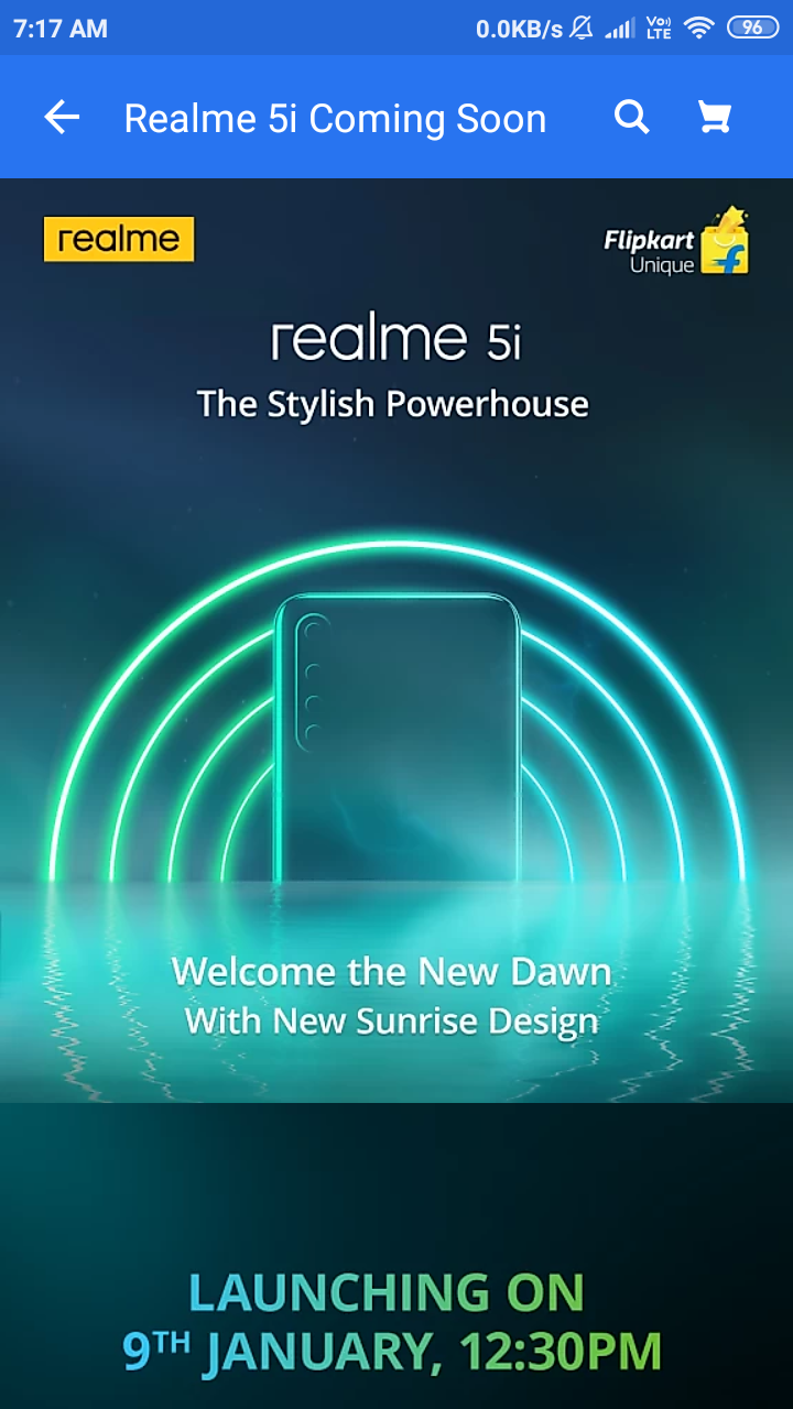 Realme 5i Landing Page Goes Live On Flipkart Launching On 9Jan,2020